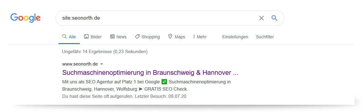 Screenshot: Googlesuche site:seonorth.de