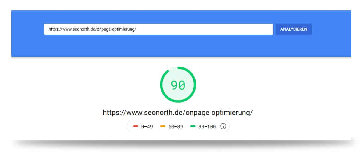 Google Page Speed Beispiel