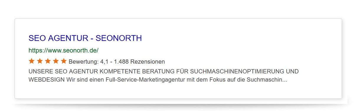 SERP seonorth.de nach Suchmaschinenoptimierung