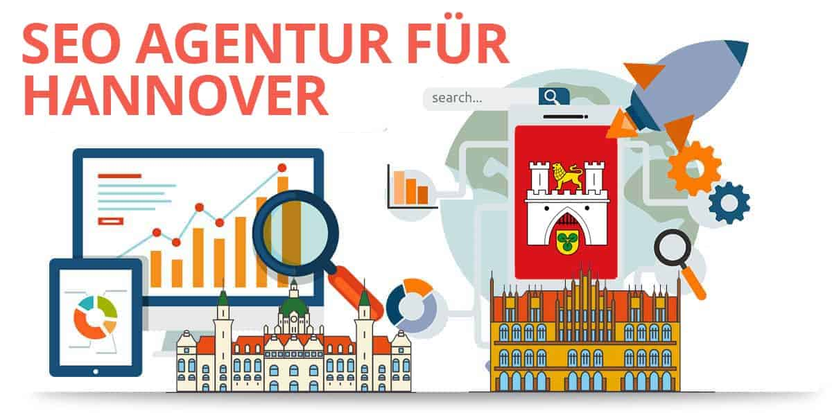 Seo Icons und Gebäude und das Wappen von Hannover
